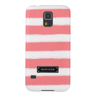 Stylish Chic Coral Stripes Personalized Galaxy S5 Cover