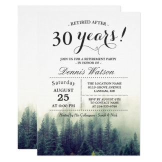 Stylish Chic Forest Pine Trees Retirement Party Card