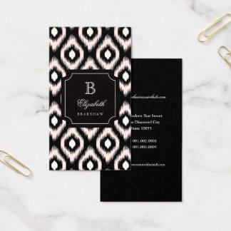 Stylish Chic Ivory Pink Diamond Ikat Monogram Business Card