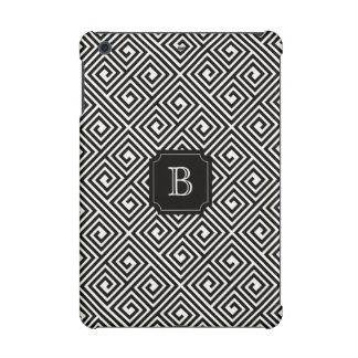 Stylish Chic Modern Black Ivory Greek Key Monogram iPad Mini Retina Case