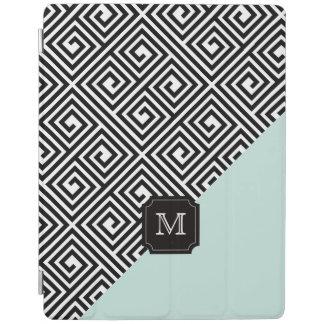 Stylish Chic Modern Black Mint Greek Key Monogram iPad Cover