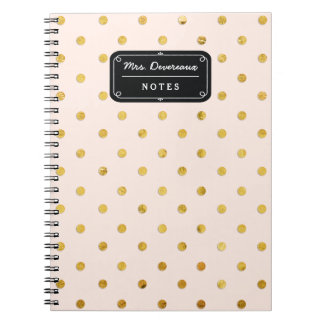 Stylish Chic Pink & Gold Polka Dots Personalized Notebook