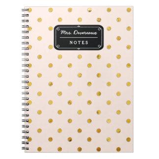Stylish Chic Pink & Gold Polka Dots Personalized Notebooks
