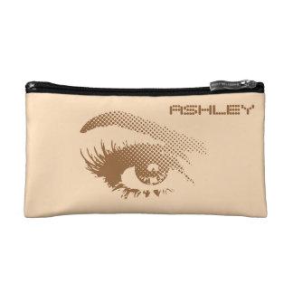 Stylish Chic Pretty Eye of Woman in Halftone Brown Cosmetics Bags