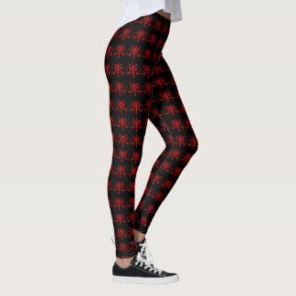 Stylish Chic Retro Red Damask Scroll Pattern Leggings