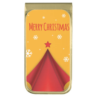 Stylish Christmas design in red and yellow Gold Finish Money Clip