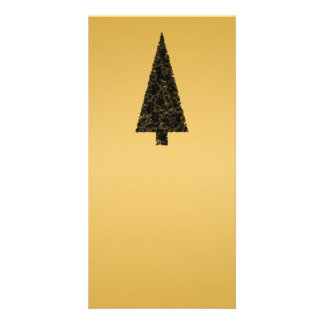Stylish Christmas Tree. Black and Gold. Photo Greeting Card