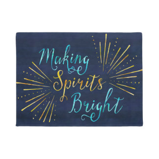 Stylish Christmas Typography Making Spirits Bright Doormat