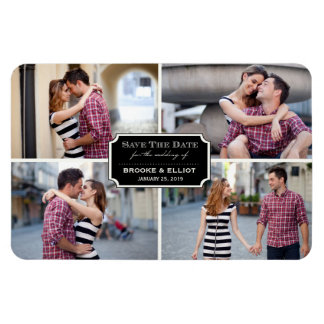 Stylish Classic Plate Save The Date Photo Magnet