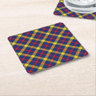 Stylish Classic Tartan Plaid Patterned Square Paper Coaster