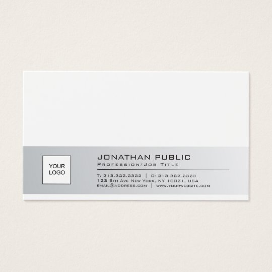 Stylish Clean Company Plain With Logo Professional Business Card