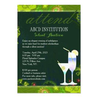 "Stylish Cocktails Fundraising Silent Auction 5"" X 7"" Invitation Card"