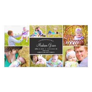 Stylish Collage Birth Announcement - Charcoal Photo Cards