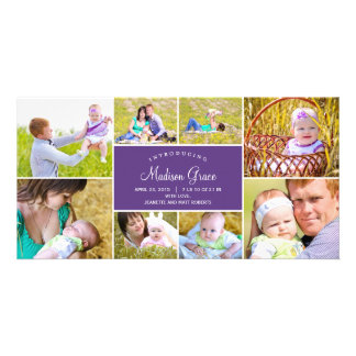 Stylish Collage Birth Announcement Photo Cards