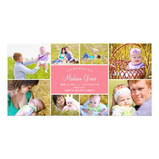 Stylish Collage Birth Announcement - Pink Photo Cards