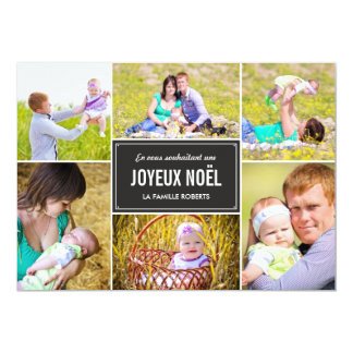 "Stylish Collage Holiday Photo Card - Charcoal 5"" X 7"" Invitation Card"