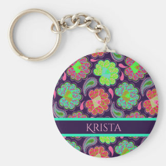 Stylish Colorful Paisley with Personalized Name Keychain