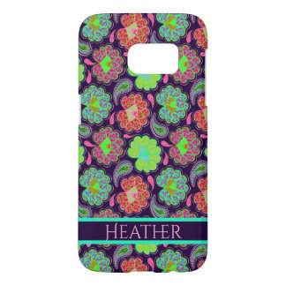 Stylish Colorful Paisley with Personalized Name Samsung Galaxy S7 Case