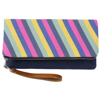 Stylish Colorful Pink Yellow Blue Stripes Pattern Clutch
