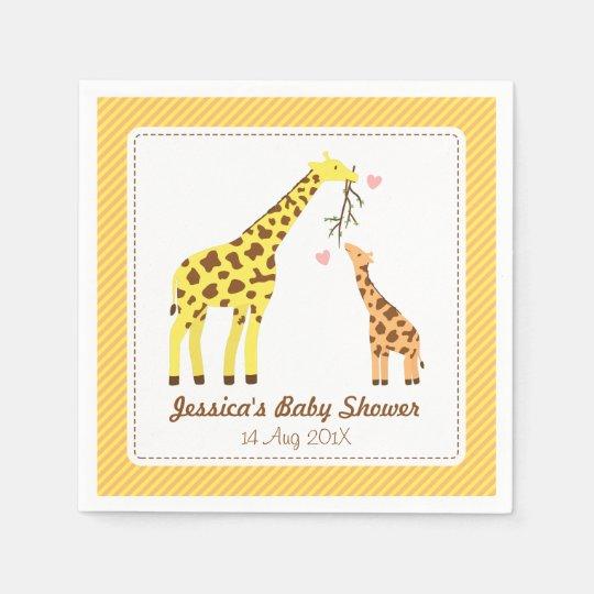 Stylish Colourful Giraffe Calf Baby Shower Party Paper Napkin