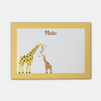 Stylish Colourful Giraffe Mommy and Baby Calf Post-it Notes