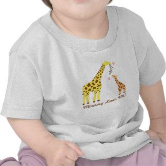 Stylish Colourful Giraffe Mommy and Baby Tshirt
