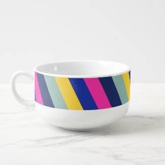 Stylish Colourful Pink Yellow Blue Stripes Pattern Soup Mug