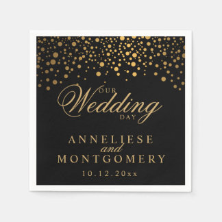 Stylish Confetti Gold Dots on Black - Wedding Day Paper Napkins