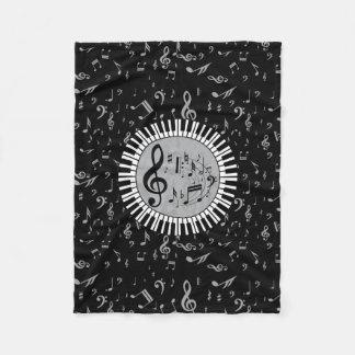 Stylish contemporary black white and gray circular fleece blanket