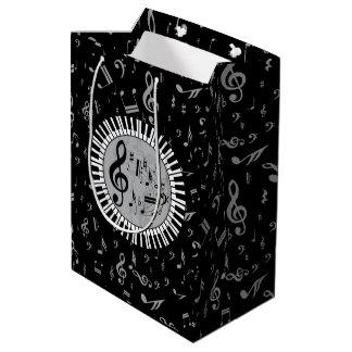 Stylish contemporary black white and gray circular medium gift bag