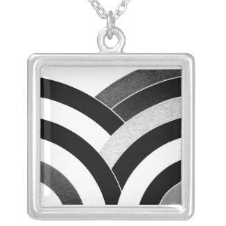 stylish contemporary black/white chevron square pendant necklace
