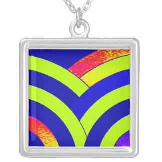 stylish contemporary blue,green,red chevron square pendant necklace