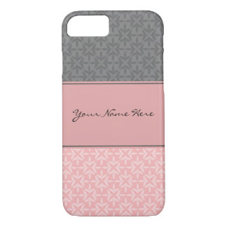 Stylish Contemporary Geometric Pink and Gray iPhone 7 Case