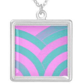 stylish contemporary green/pink chevron square pendant necklace