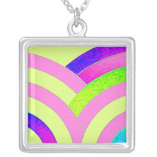 stylish contemporary pink/lime chevron square pendant necklace