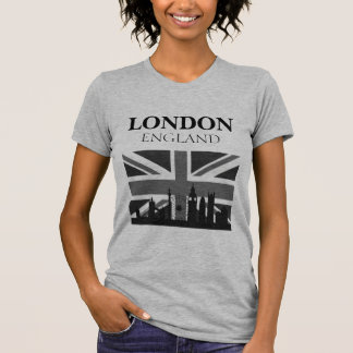 Stylish Cool Black Grey London Union Jack T-Shirt