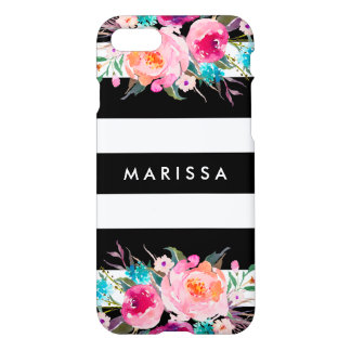 Stylish Cool Black Stripe Pink Floral Watercolor iPhone 8/7 Case