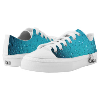 Stylish Cool Blue water drops Low-Top Sneakers