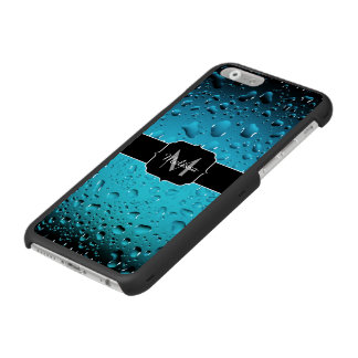 Stylish Cool Blue water drops Monogram Incipio Watson™ iPhone 6 Wallet Case