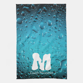 Stylish Cool Blue water drops Monogram Kitchen Towel