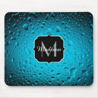 Stylish Cool Blue water drops Monogram Mouse Pad