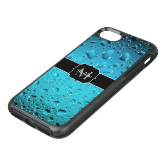 Stylish Cool Blue water drops Monogram OtterBox Symmetry iPhone 7 Case