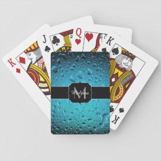 Stylish Cool Blue water drops Monogram Poker Deck