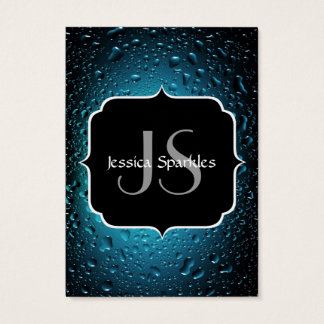 Stylish Cool Blue water drops with Monogram Business Card