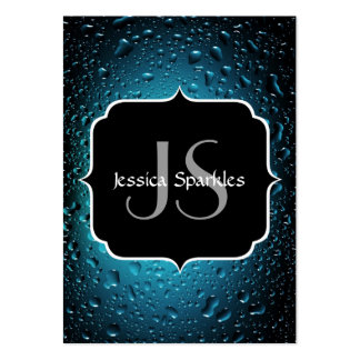 Stylish Cool Blue water drops with Monogram Pack Of Chubby Business Cards