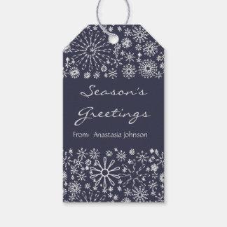 Stylish Cool Festive Snowflake Swirls Pattern Gift Tags