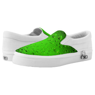 Stylish Cool Green water drops Slip-On Sneakers