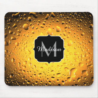 Stylish Cool Yellow water drops beer Monogram Mouse Pad