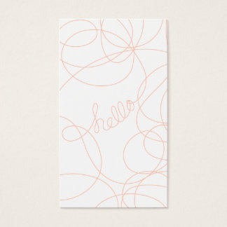 Stylish coral abstract hello calligraphy stripes business card
