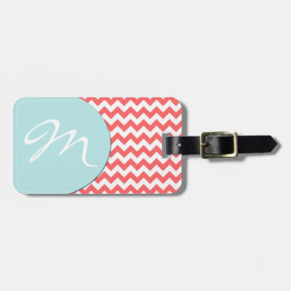 Stylish Coral Chevron and Monogram Luggage Tag